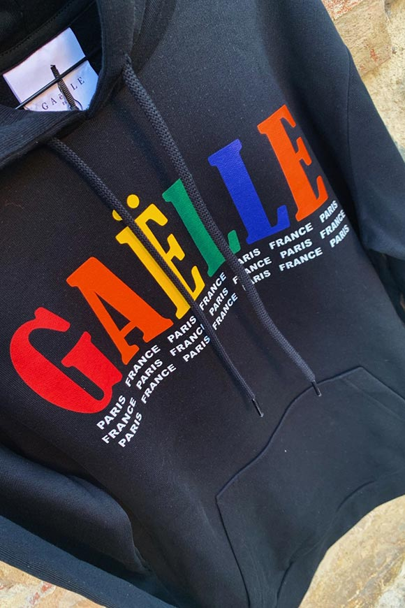 Gaelle - Black sweatshirt with multicolored logo