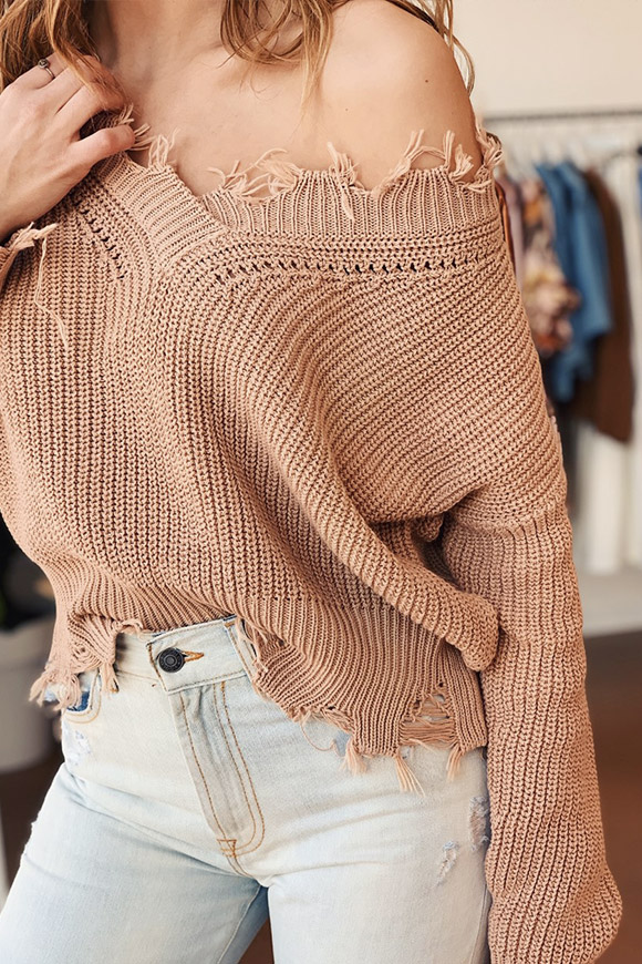 Kontatto - Sand frayed sweater in cotton