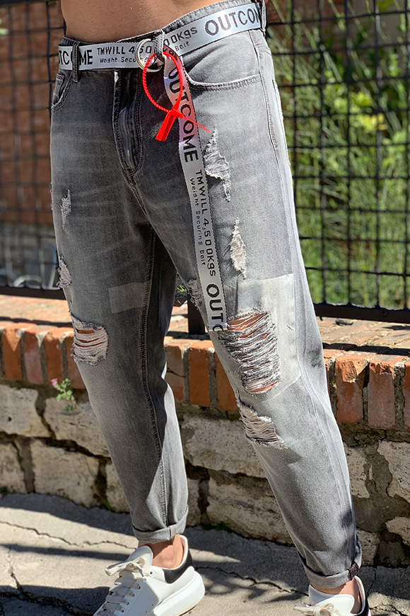 Gianni Lupo - Outcome light jeans with grey belt