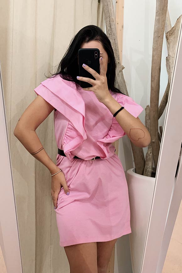 Vicolo - Pink cotton dress with puffed sleeves