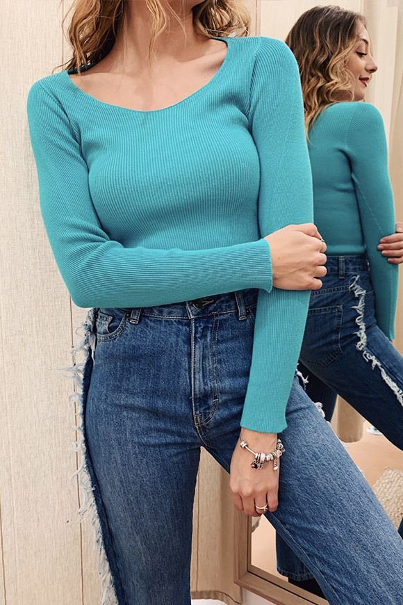 Kontatto - Light ocean sweater with ribbed lady neckline