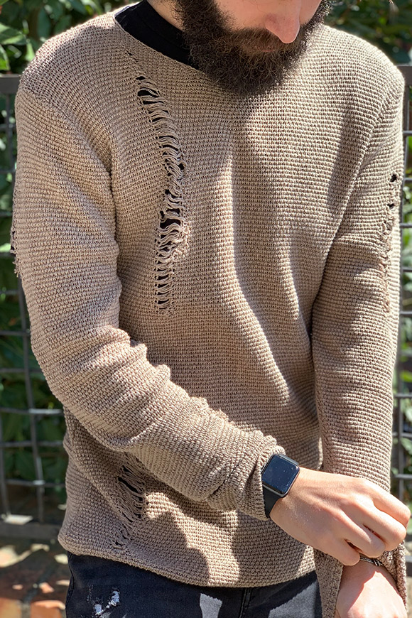 Gianni Lupo - Beige sweater with tears
