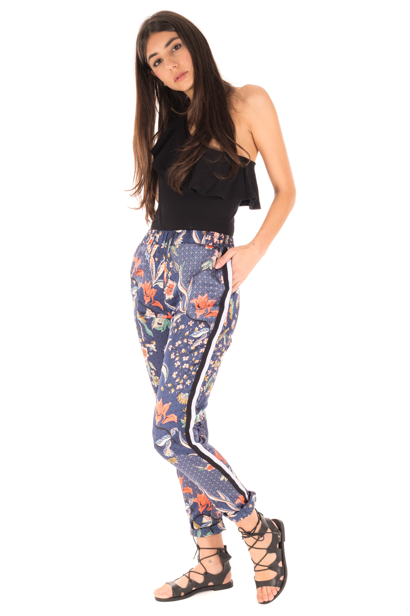 Glamorous - High waist Trousers with Print and Side Band