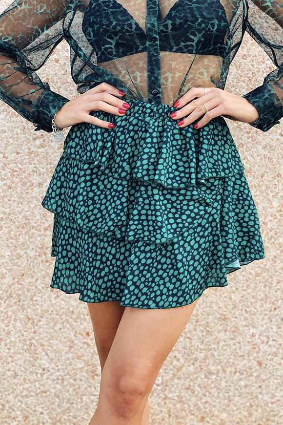 Vicolo - Irregular green leopard skirt