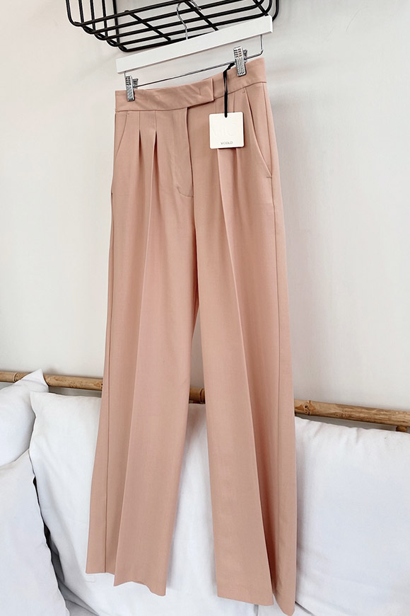 Vicolo - Pastel pink palazzo trousers