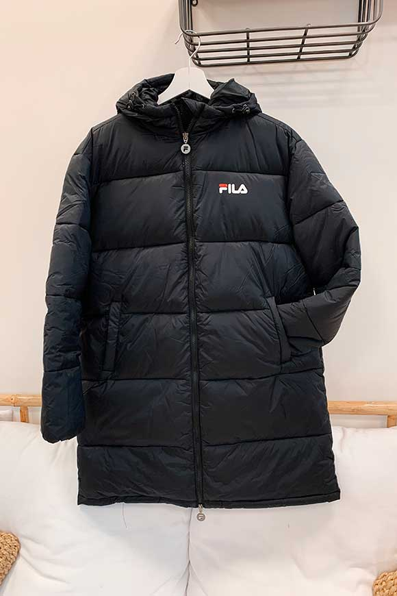 Fila - Long black bomber jacket with logo