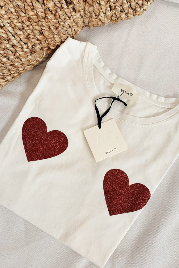 Vicolo - White t shirt with red glitter hearts