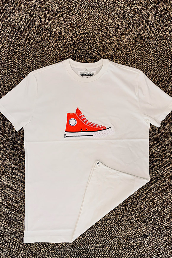 Easy Slip On - T shirt white embroidery red Converse shirt