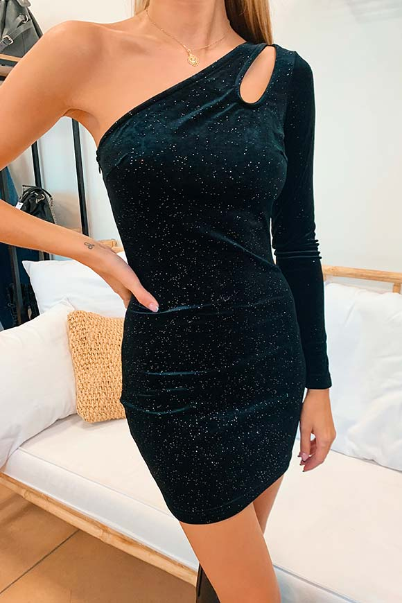 Glamorous - One-shoulder sheath dress in black velvet