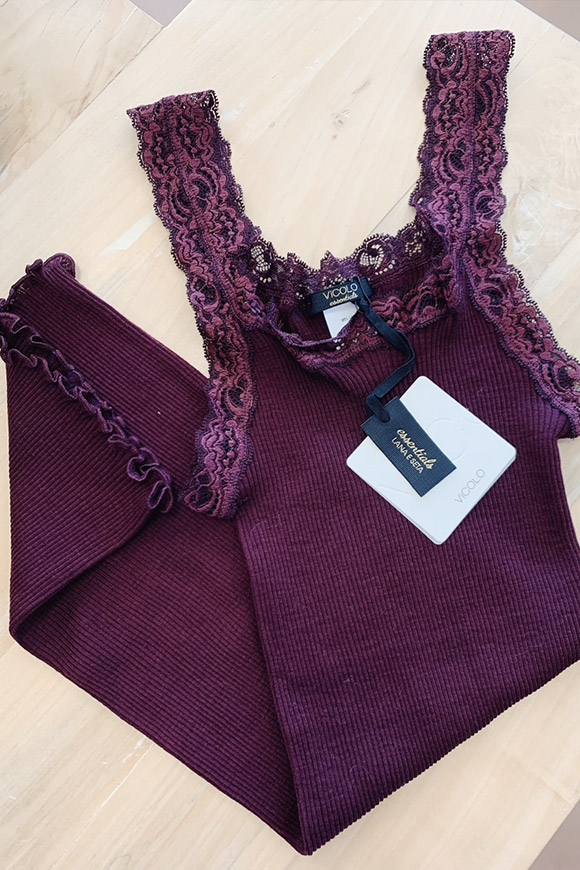 Vicolo - Burgundy wool and silk tank top with lace