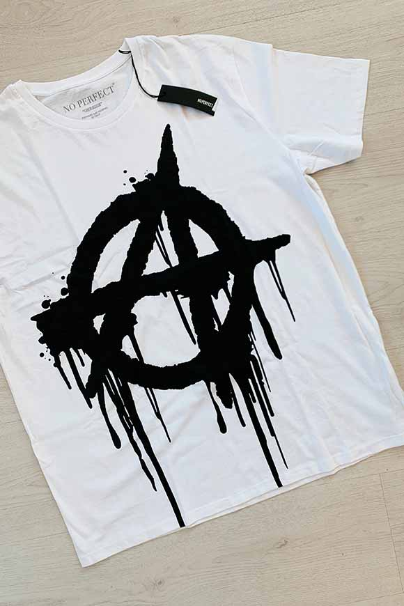 No Perfect - T shirt oversize anarchia bianca