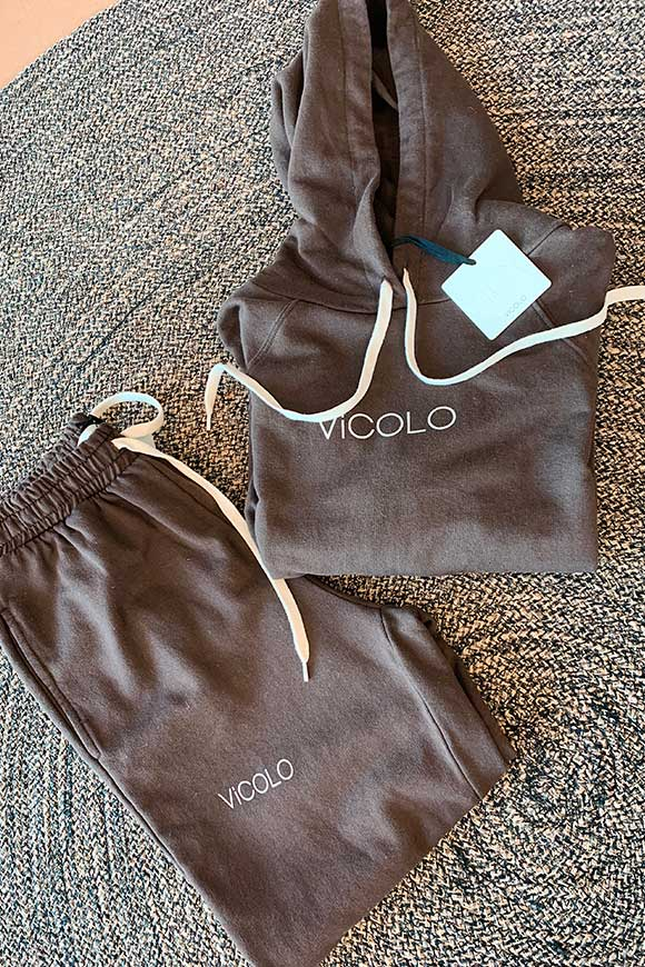 Vicolo - Coffee suit trousers with logo