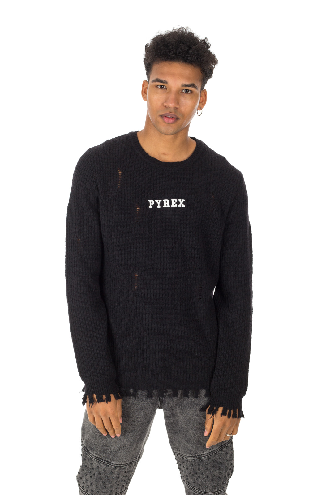 Pyrex - Black sweater with teats and cut alive