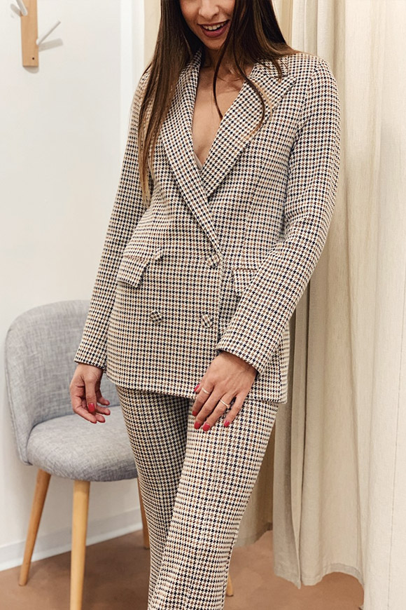 Vicolo - Double-breasted houndstooth jacket