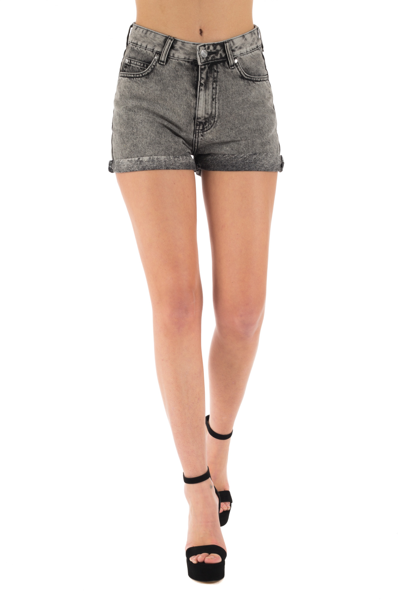 Dr. Denim - Grey denim shorts with ripps