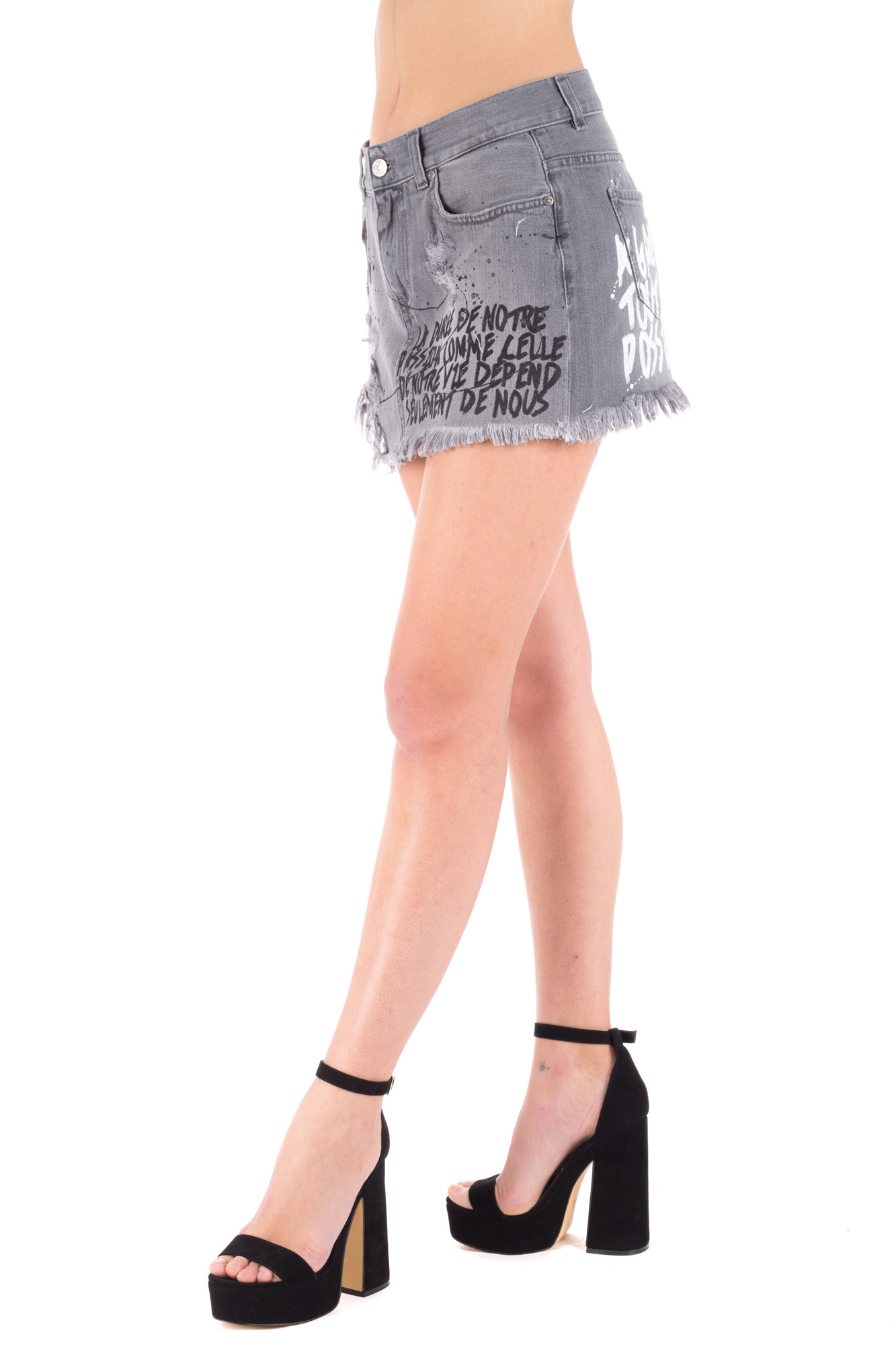 Gaelle - Grey Denim Mini Skirt with Graffiti