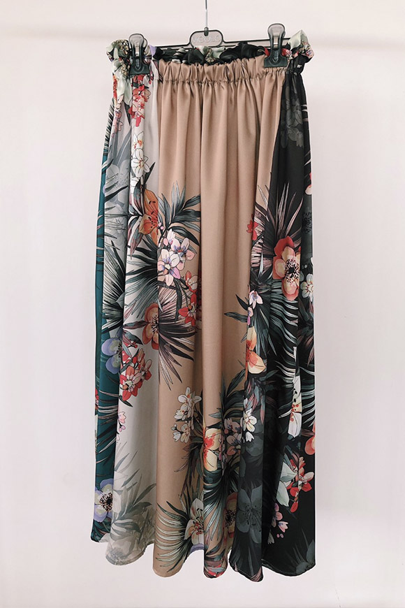 Vicolo - Floral silk-effect long skirt