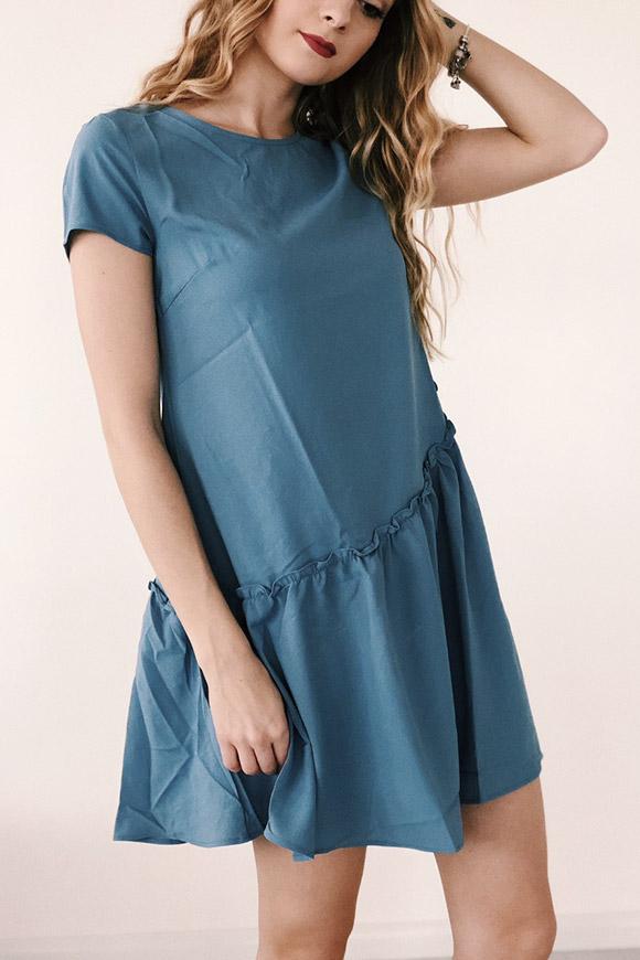 on sale 5d301 493e6 Vestito azzurro con balza