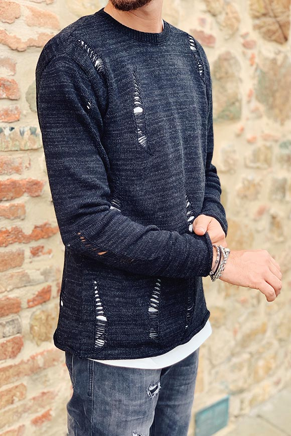 Black destroy crew neck sweater