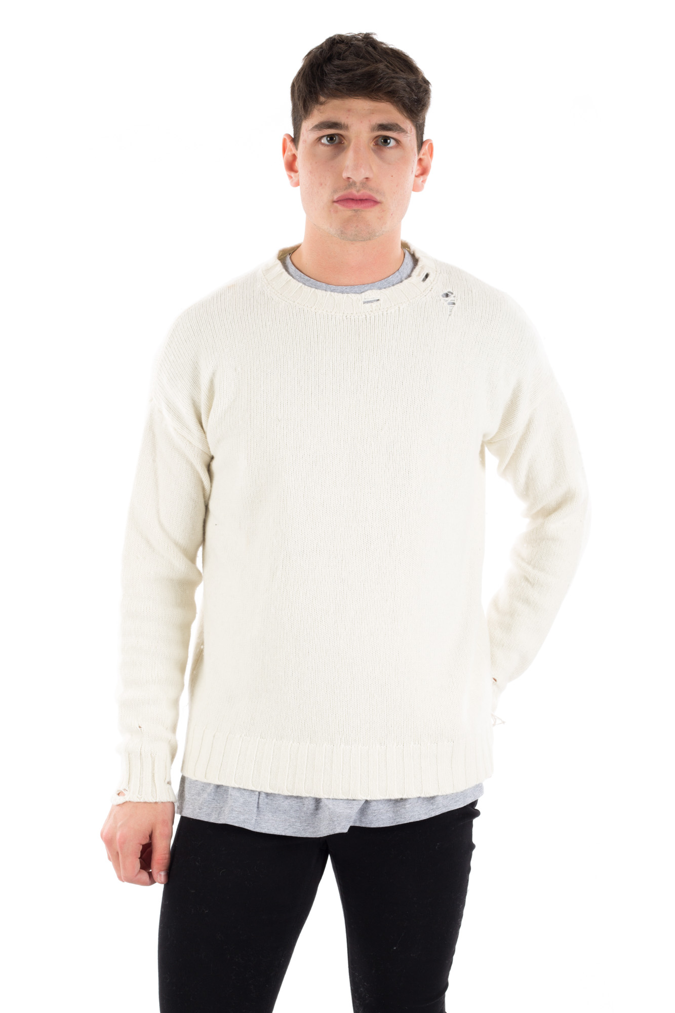 Paura - Ripped round-necked sweater in cashmere