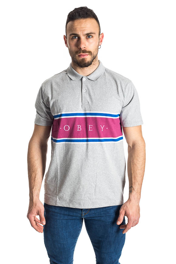 Obey - T shirt Polo Palisade Grigia