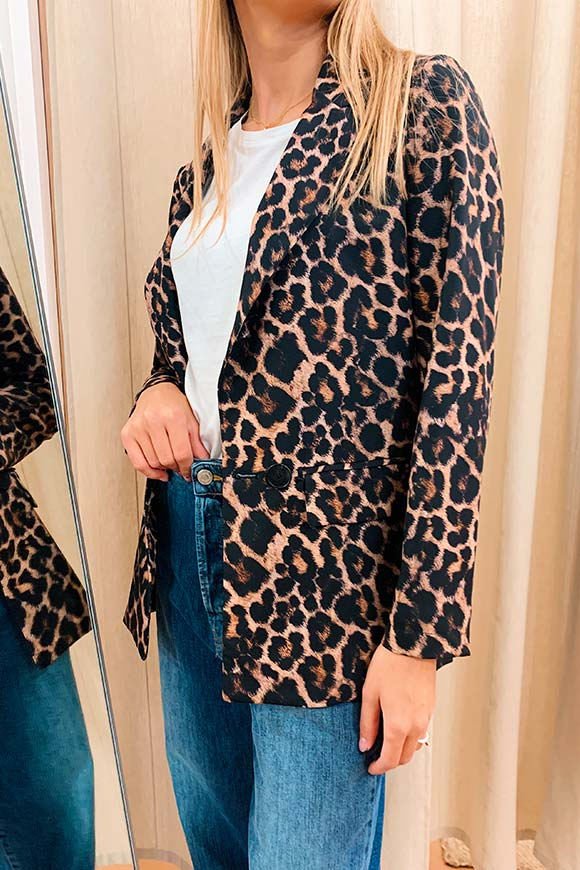 Dixie - Single-breasted leopard jacket