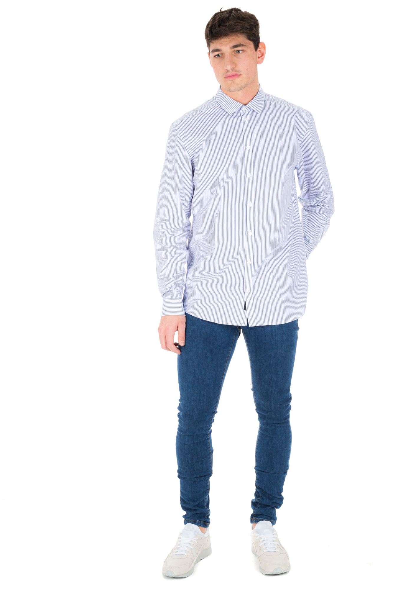 Minimum - Camicia slim blu a righe