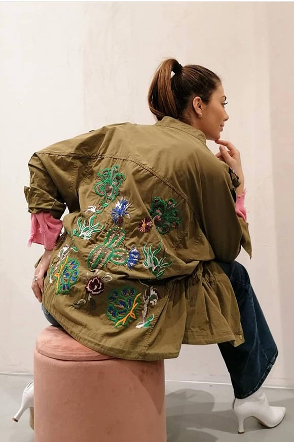 Vicolo - Military jacket embroidered in light denim