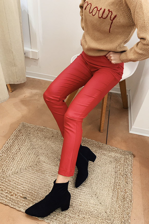 Vicolo - Red coated leggings