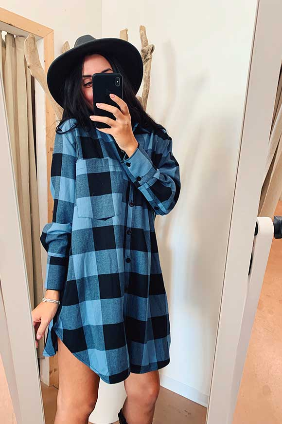 Vicolo - Blue and black checked pinafore dress