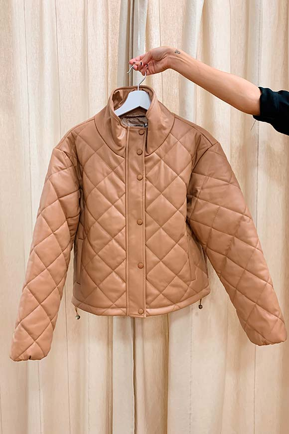 Glamorous - Quilted bomber in beige eco-leather