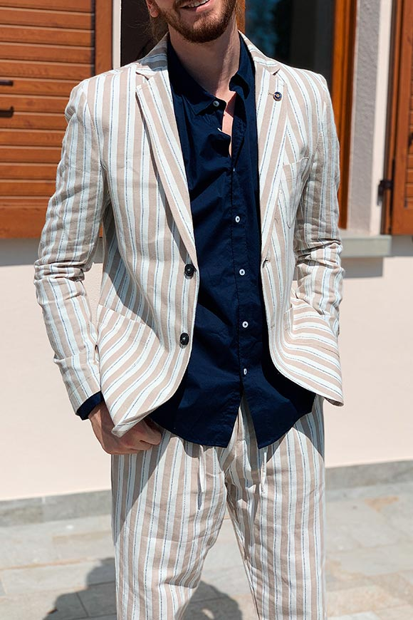 Gianni Lupo - Beige and white striped linen jacket