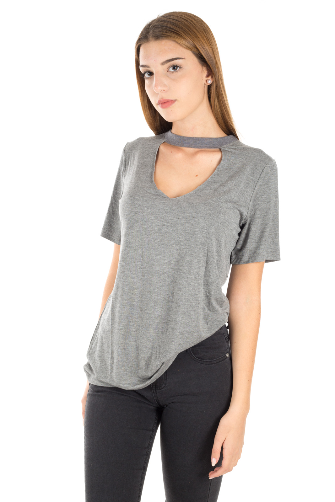Glamorous - T shirt Grigia Cut / Out