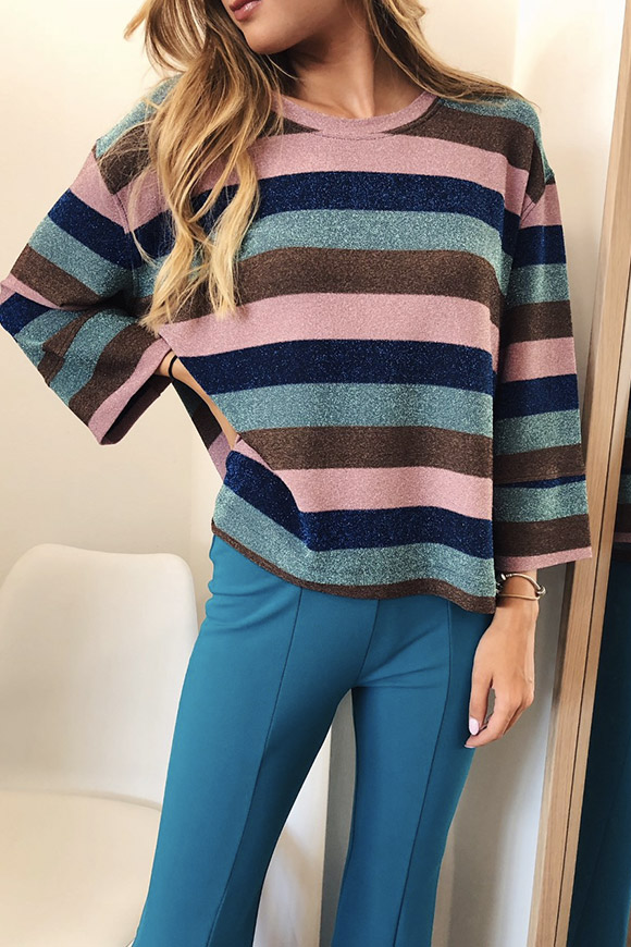 Vicolo - Striped sweater in pink and blue lurex