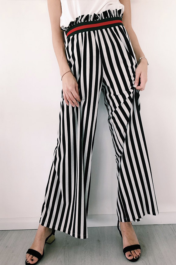 Vicolo - Lurex trousers with white and black stripes