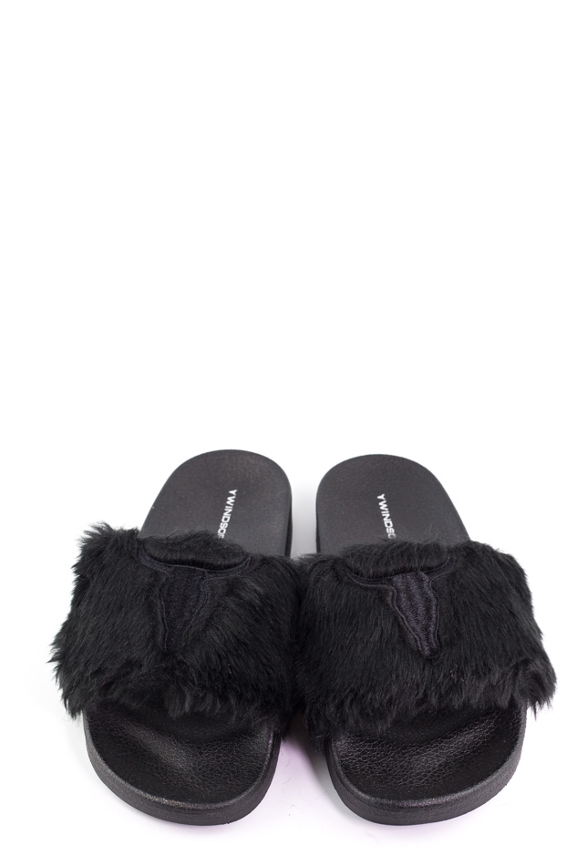 Windsor Smith - Slippers with Ivy black fur
