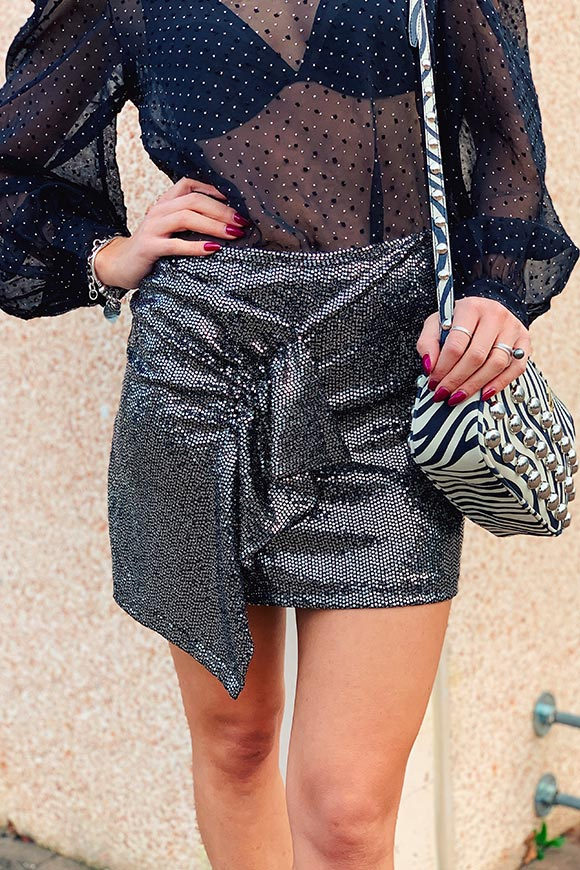 Kontatto - Skirt in silver sequins and hoops