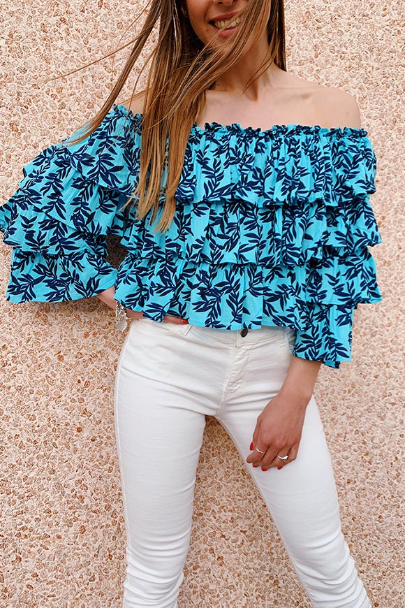 Glamorous - Light blue bardot top with leaves and flounces