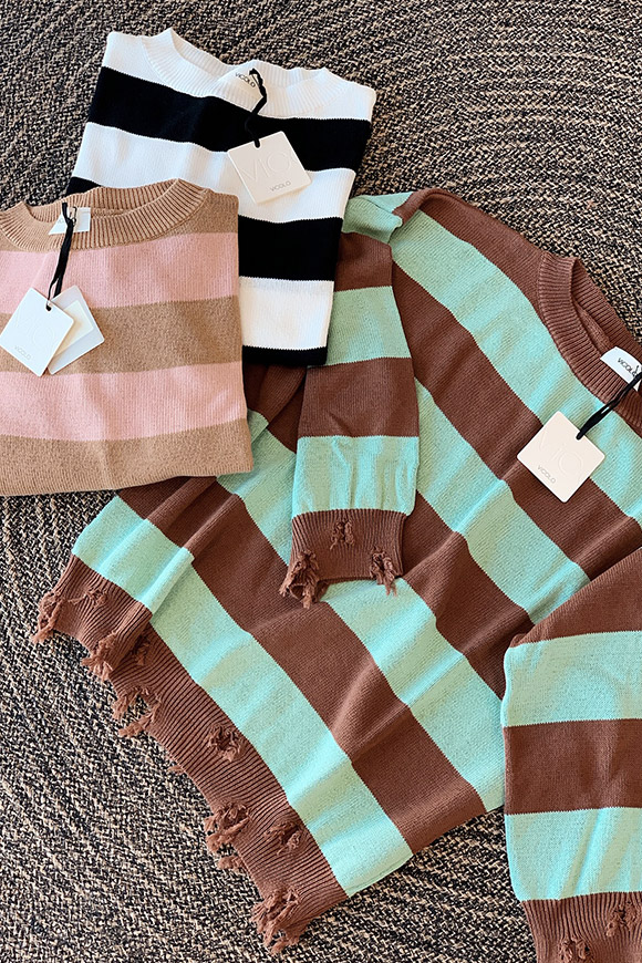 Vicolo - Fringed pink and beige striped sweater