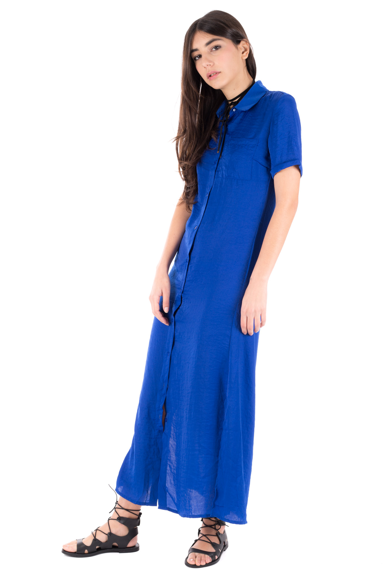 Glamorous - Long blue dress with front buttons