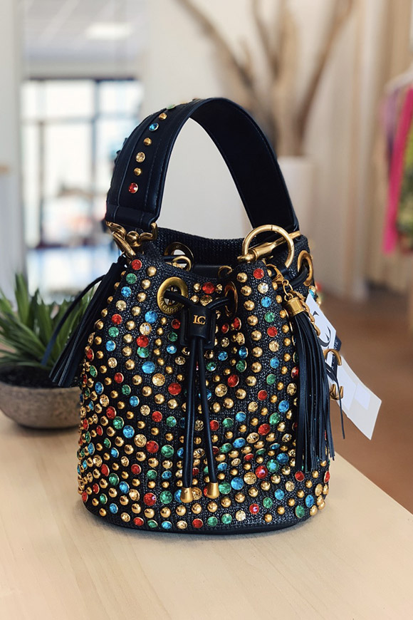 La Carrie - Borsa secchiello strass multicolore
