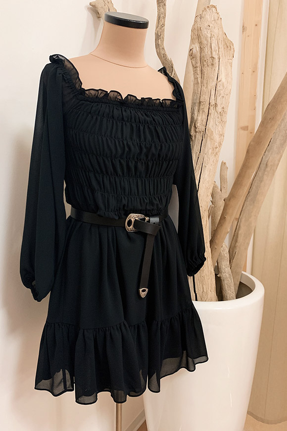 Glamorous - Black chiffon dress with flounce