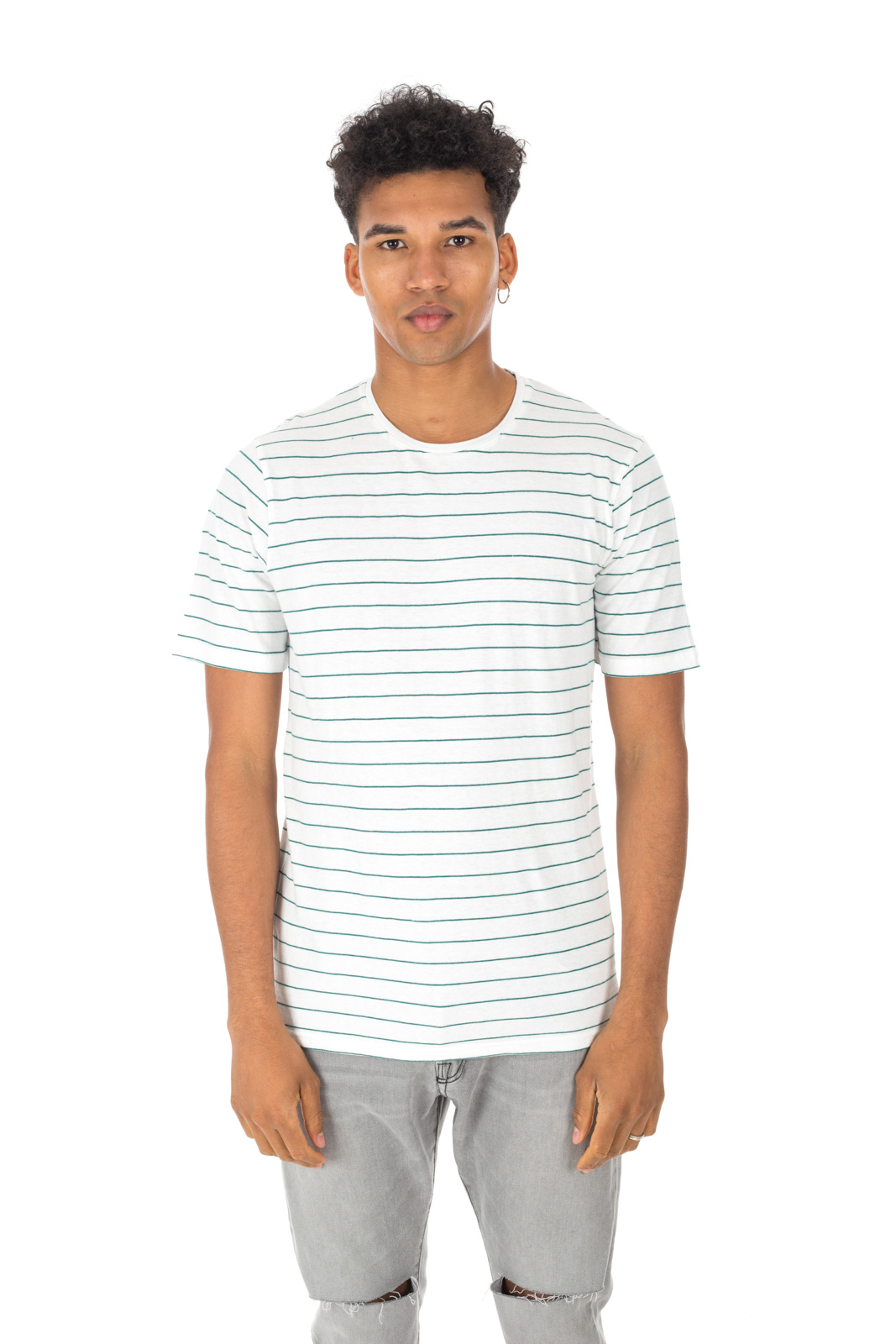 Minimum - Tatipu white / green striped T-shirt