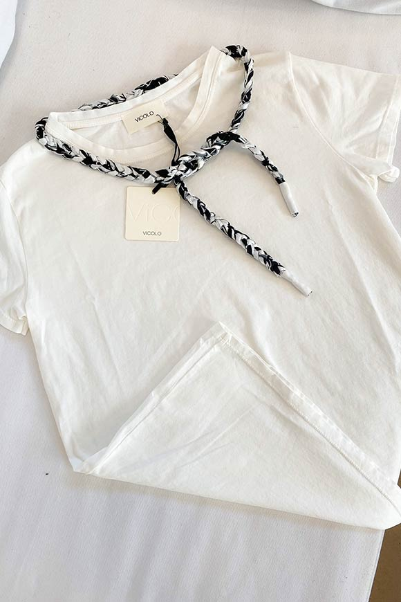 Vicolo - White t-shirt with braid cord BeN n.1