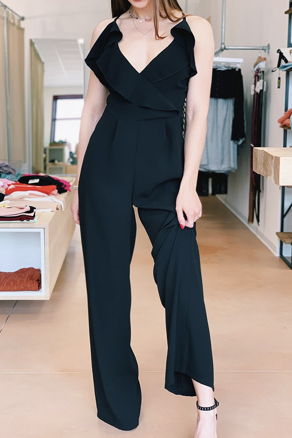 Kontatto - Long black jumpsuit with rouche