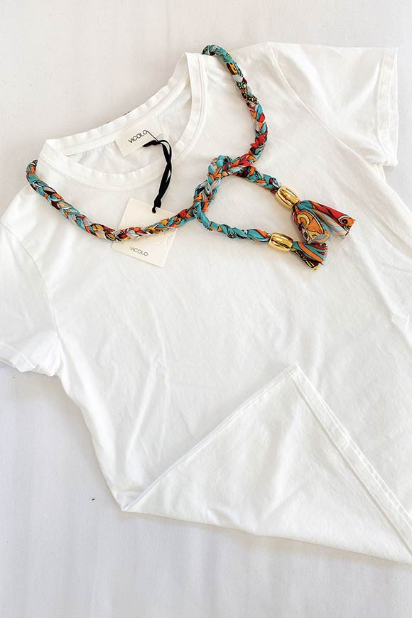 Vicolo - White t-shirt with aqua green braid cord n.2