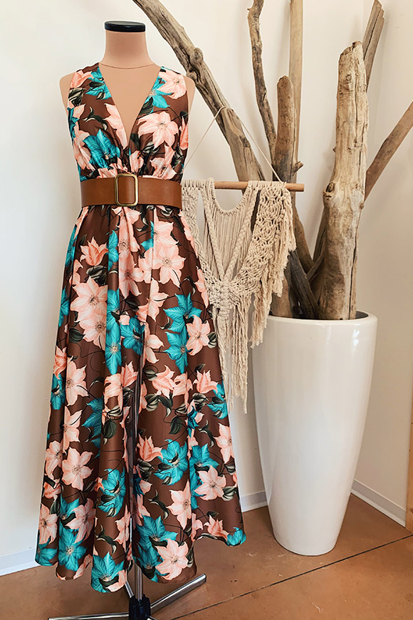 Vicolo - Long brown flower dress with split