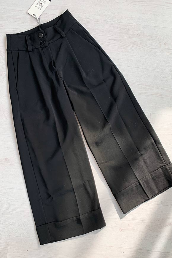 Berna - Black tailored trousers with very high waist