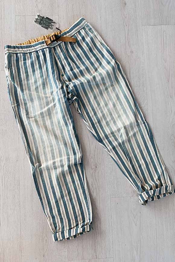White Sand - Striped jeans trousers