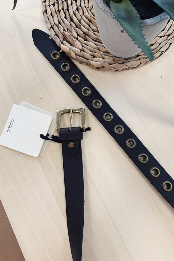 Vicolo - Dark brown belt with gold circles
